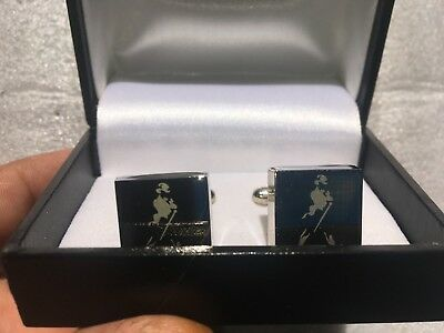 Collectable Cuff Links Johnnie Walker Logo, chrome with white logo.