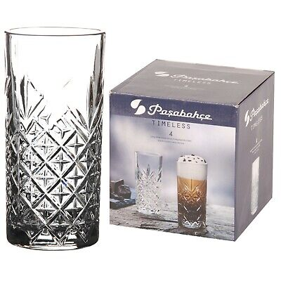 Pasabahce Long Drink Glasses 29.5cl/295ml Set Of 4 Crystal Effect Highball Cut