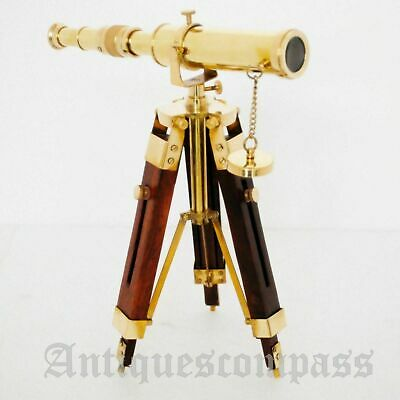 Nautical Brass Telescope With Wooden Tripod Stand Collectible Antique Desk Decor