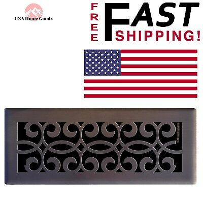 """Classic Oil Rubbed Bronze Scroll Floor Register 4"""" x 12"""" Smooth Glide Air Vent"""