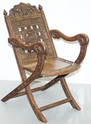 Very Rare Early 19Th Century Chinese Hand Carved Wood Armchair Dragons & Bats