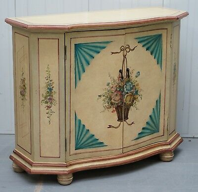 1 Of 2 Vintage Painted Flowers French Serpentine Fronted Sideboards Cupboards