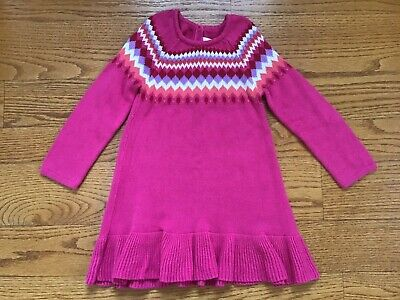 Gymboree Nwts Size 3t Valentines Long Sleeve Sweater Dress Puppy Now Pink Red