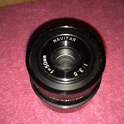 EXCELLENT NAVITAR 50 mm TELEVISION LENS F=50mm 1:3.5 TV LENS