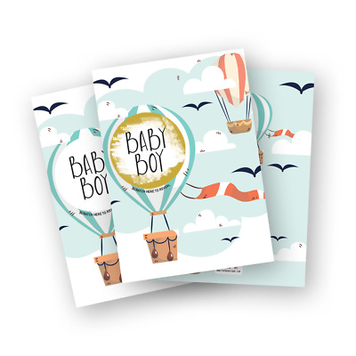 10 Gender Reveal Scratch Cards Pack. Hot Air Balloon baby shower game idea