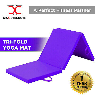 MaxStrength Tri-Fold Folding Exercise Mat Yoga Pilates Gym Class Workout Fitness
