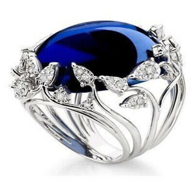 Womens Sapphire Topaz Stone Vine Rings  Bridal Marriage Engagement Ring Gift