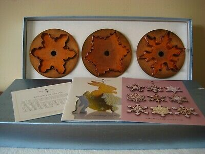 Martha Stewart By Mail Set Of 3 Snowflake Copper Cookie Cutters Orig Box