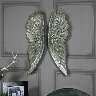 Pair of large silver gilt angel wings vintage style wall art home gift accessory