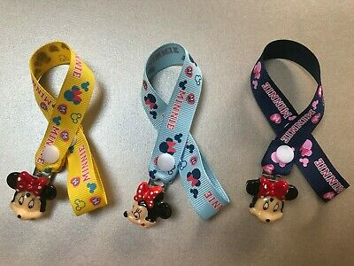 Minnie Mouse Dummy Soother Pacifier Clip ~ No Beads ~ 3 Colour Options ~ New