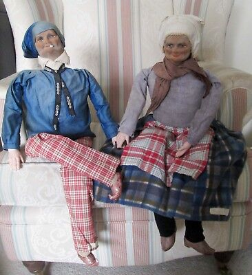 ANTIQUE FRENCH BOUDOIR DOLLS ELDERLY BRETON SMOKER MAN LADY 30 in ?BERNARD RAVCA