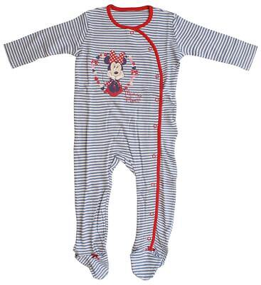Girls Sleepsuit Disney Minnie Mouse Stripe Babygro Newborn Baby to 18 Months