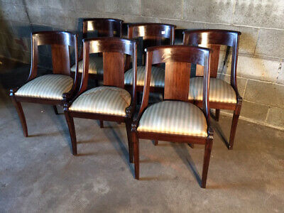 Elegant Series of 6 Gondolle Chairs in Mahogany