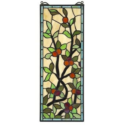 "22"" x 8.5"" Natures Vine of Fruits Tiffany Style Stained Glass Window Panel"