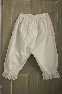 Culottes Antique French white cotton bloomers with lace ankle cuffs pantaloons