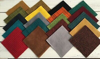 """Hand Dyed, Felted Wool Applique Pack, 20 Colors and Textures,Penny Rugs, 4"""" x 4"""""""