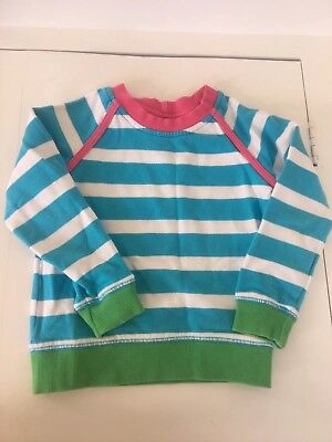 Hanna Andersson Girls Blue And White Striped Sweatshirt Size 100