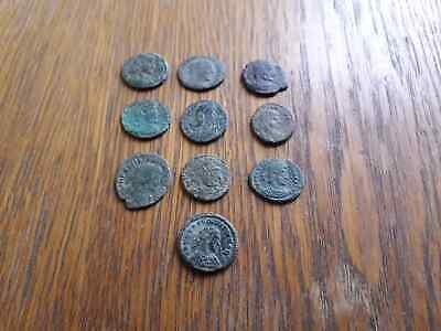 Beautiful Lot Of 10 Ancient Roman Coins For Cleaned