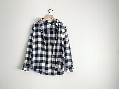 c98ea6e6 UNIQLO Women's Flannel Plaid Button Down Shirt Long Sleeve Blue/White Size S