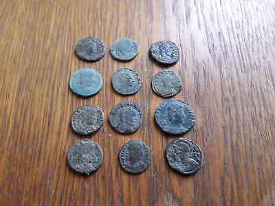 Beautiful Lot Of 12 Ancient Roman Coins For Cleaned
