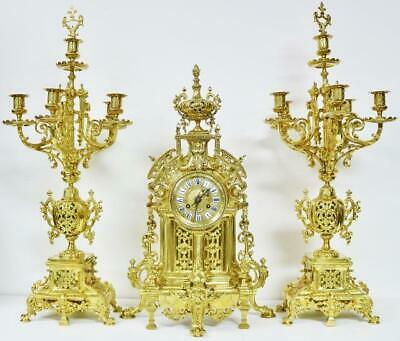 Amazing Antique French Huge Bronze Ormolu Ornate Design 3 Piece Mantle Clock Set