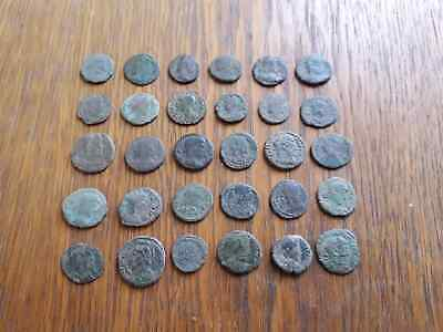 Beautiful Lot Of 30 Ancient Roman Coins For Cleaned