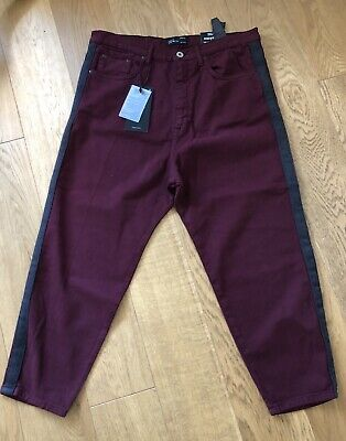 9c7827da ZARA MAN Jeans maroon red cropped trousers EU44 Loose fit 34W New Holiday