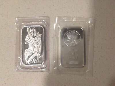 Lot Of 2 . 1 Sunshine Mint And 1 Silvertowne  .999 Fine Silver Bars 2 Troy Oz