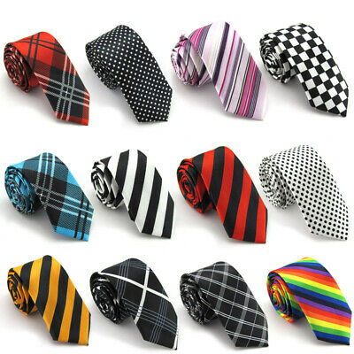 Women Fashion Plaid Neck Tie Wedding Scottish Plaid Narrow Skinny Necktie