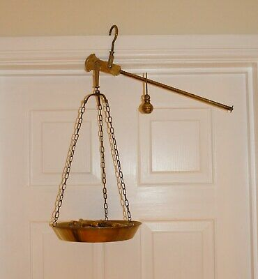 Old Antique brass hanging balance scales complete with pan and balance weight