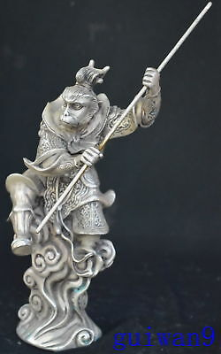 9.15Inch Chinese Miao Silver Souvenir Wear Robe Monkey King Gold Hoop Old Statue