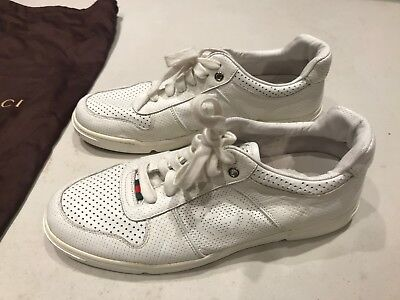 51fd98a95100 Gucci sneakers tennis shoes white leather red bottom sole men s size G9 US  10
