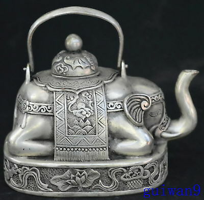 Collectable Chinese Miao Silver Carve Tibet Ancient Elephant Old Royal Teapot