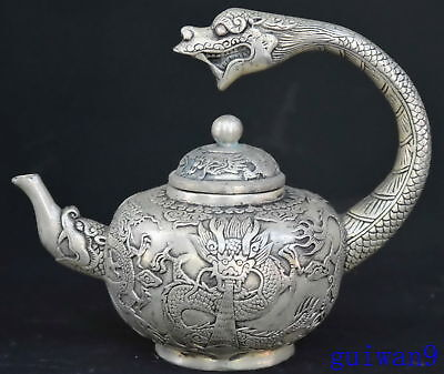 Collectable Old Art Ancient Chinese Miao Silver Carve Dragon Taoist Use Teapot