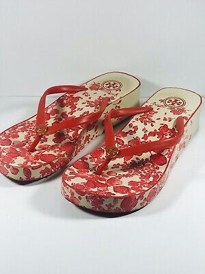 9326fcee58c Tory Burch Size 7 Off White Floral Flip Flop Wedge Thongs Sandals