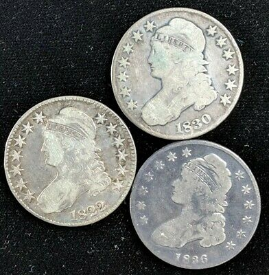1822, 1830, 1836 - Capped Bust Half Dollar - 50 C. - Lot Of 3