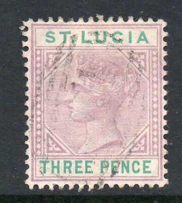 St Lucia 1886 3d dull mauve & green die I SG 40 used
