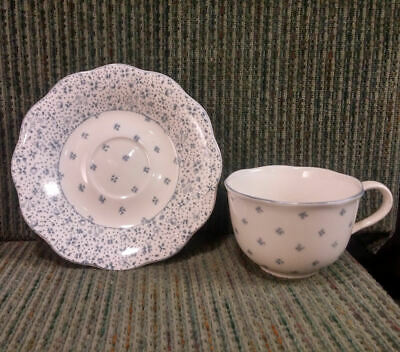 American Country Dena Tea Cup & Saucer by Nikko ~ Blue Forget-Me-Not ~ Excellent
