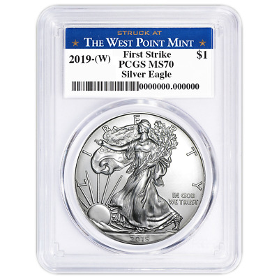 2019 (W) $1 American Silver Eagle PCGS MS70 First Strike West Point Label
