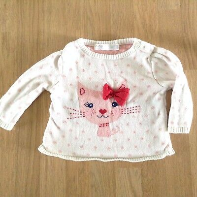 Baby girl Jumper size 0-3 mths spotted cat cream pink