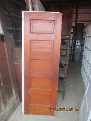 Antique Vintage 5 Panel Interior Door  Approx 24 X 72 Natural  Can Ship
