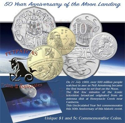 2019 50th Anniversary of the Moon Landing Year Unc Set with Special 5c & $1 #re