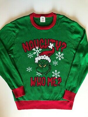 Dr. Seuss The Grinch Naughty Who Me? Christmas Holiday Sweater Size L