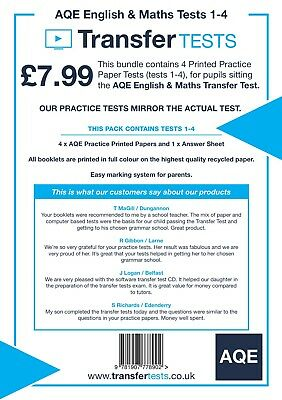 Transfer test practice papers AQE English and Maths 1-4 (Suitable for 11+ plus)