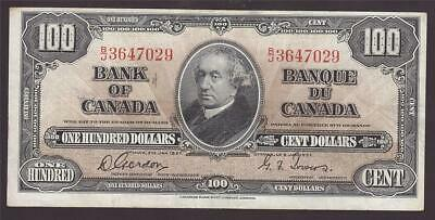 1937 Bank of Canada $100 note Gordon & Towers B/J3647029 VF30