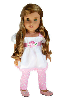 """Doll Clothes 18"""" Pants Leggings Top Pink White Polka Dot Fits 18"""" AG Dolls"""