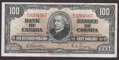 1937 Bank of Canada $100 note Gordon & Towers B/J3204567 EF40 EPQ