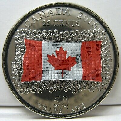 RCM - 2015 - 25-cents - Flag - Red - Colorized - BU ( From a new roll )
