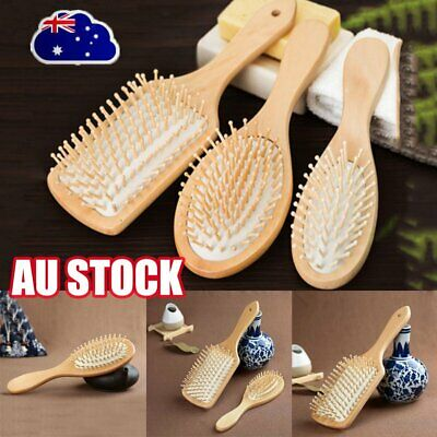 Bamboo Wooden Hair Brush Anti-Static Oval Head Meridian Massage Combs MN