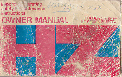 Holden Hz Owners Manual 1977